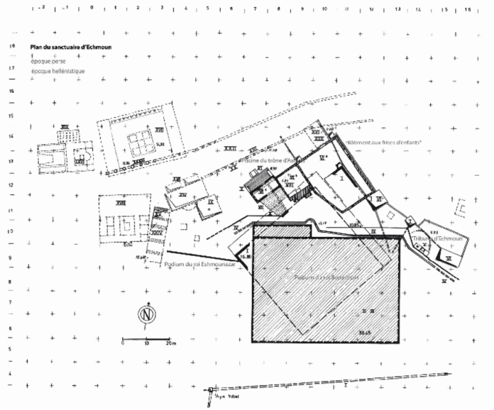 Fig. 2. – Sidon, sanctuaire d'Echmoun, plan. Source: https://www.persee.fr/doc/crai_0065-0536_2012_num_156_2_93623