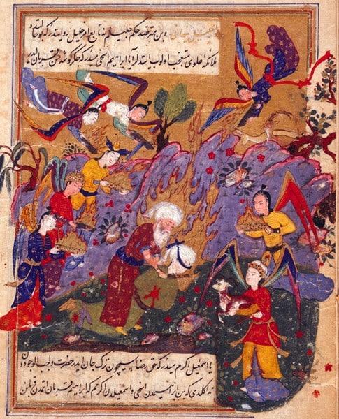 e sacrifice du fils dans Hadikat as-Suada, (le jardin des heureux), Turquie, XVIe-XVIIe. British Library, OR 7301, F 19V.
