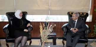 Ramzi Moucharafieh et son homologue syrienne Rima el Qadri. Crédit Photo: NNA