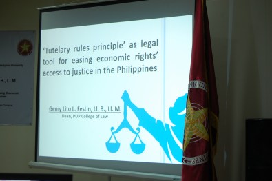 "Polytechnic University of the Philippines College of Law Dean Gemy Lito L. Festin's lecture titled ""'Tutelary Rules Principle' as Legal Tool for Easing Economic Rights' Access to Justice in the Philippines"""