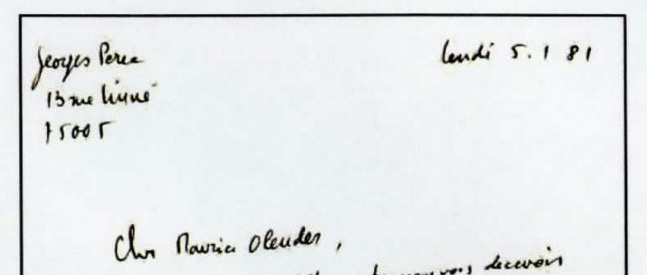 Quelques archives Perec, extraites du Fonds Maurice Olender IMEC