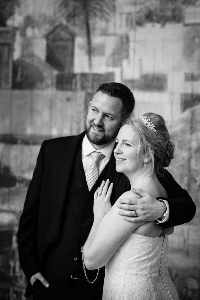 Bride and Groom On the Stage at Larmertree Gardens