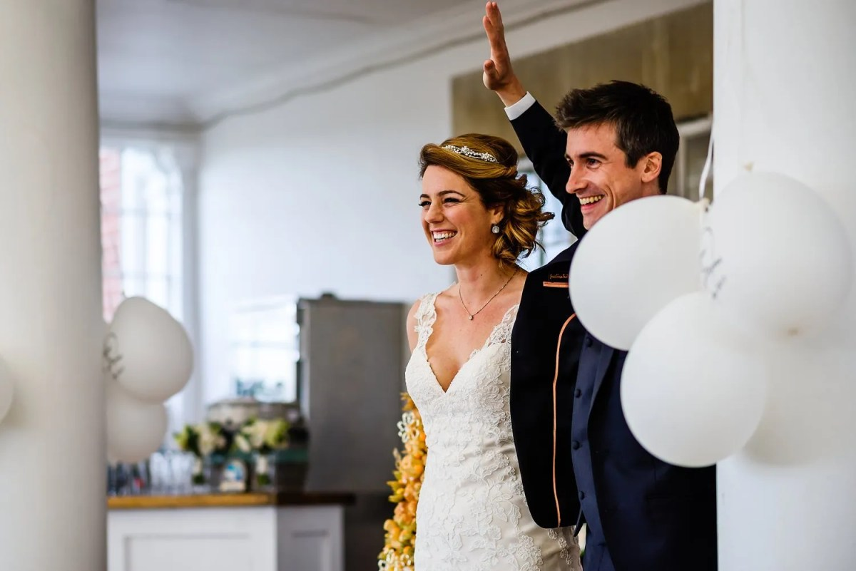 Bride and groom enter Studland Bay House