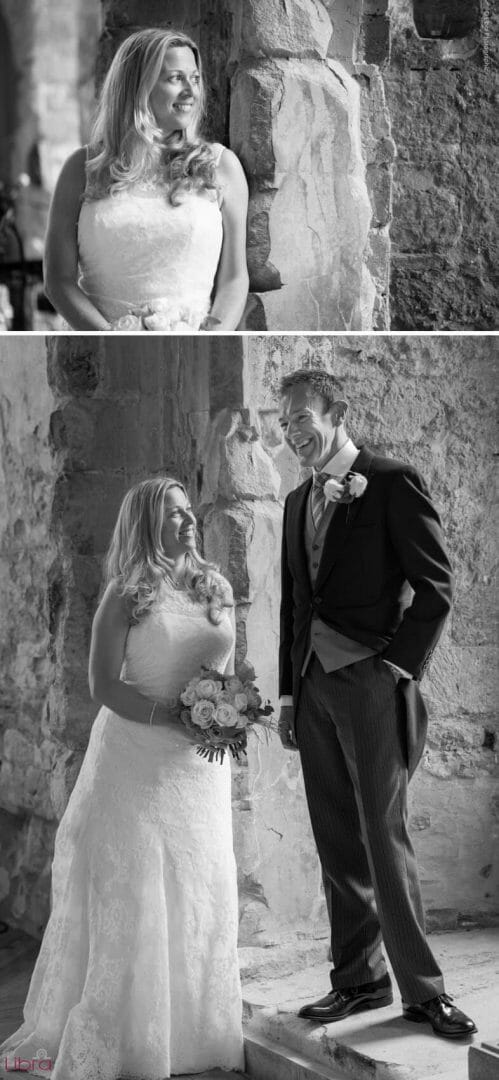 Bride and groom in the basement of Lulworth Castle