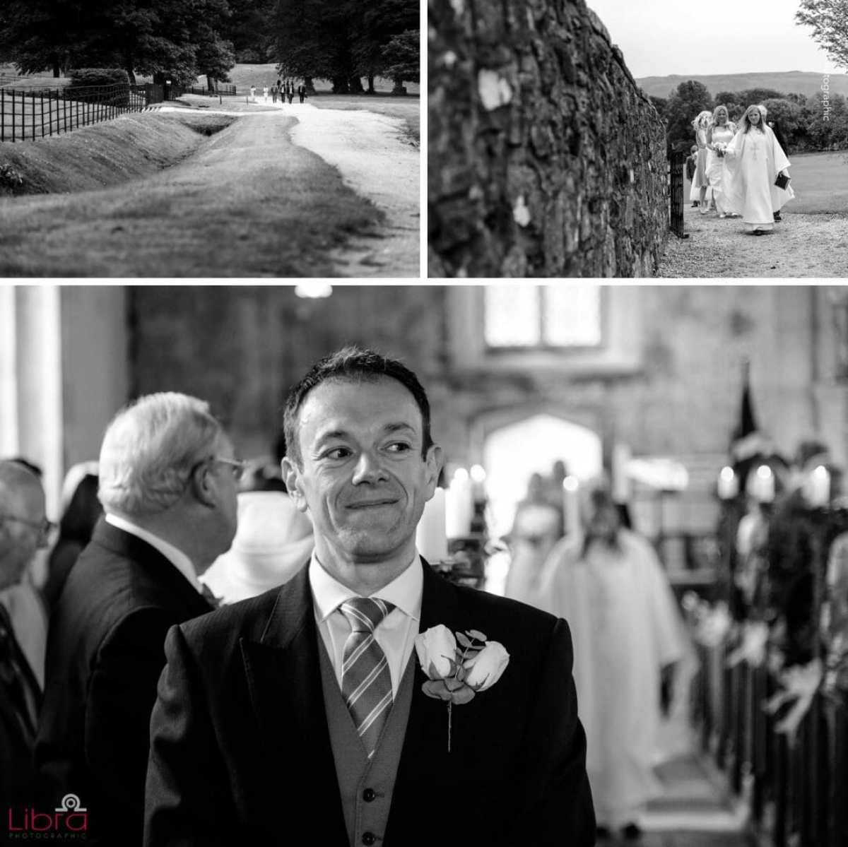 Groom waits for the bride in church