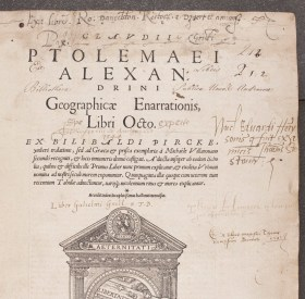 Title page of the 1541 printing of Ptolemy's Geographia with at least five distinct signatures of early Scottish owners.