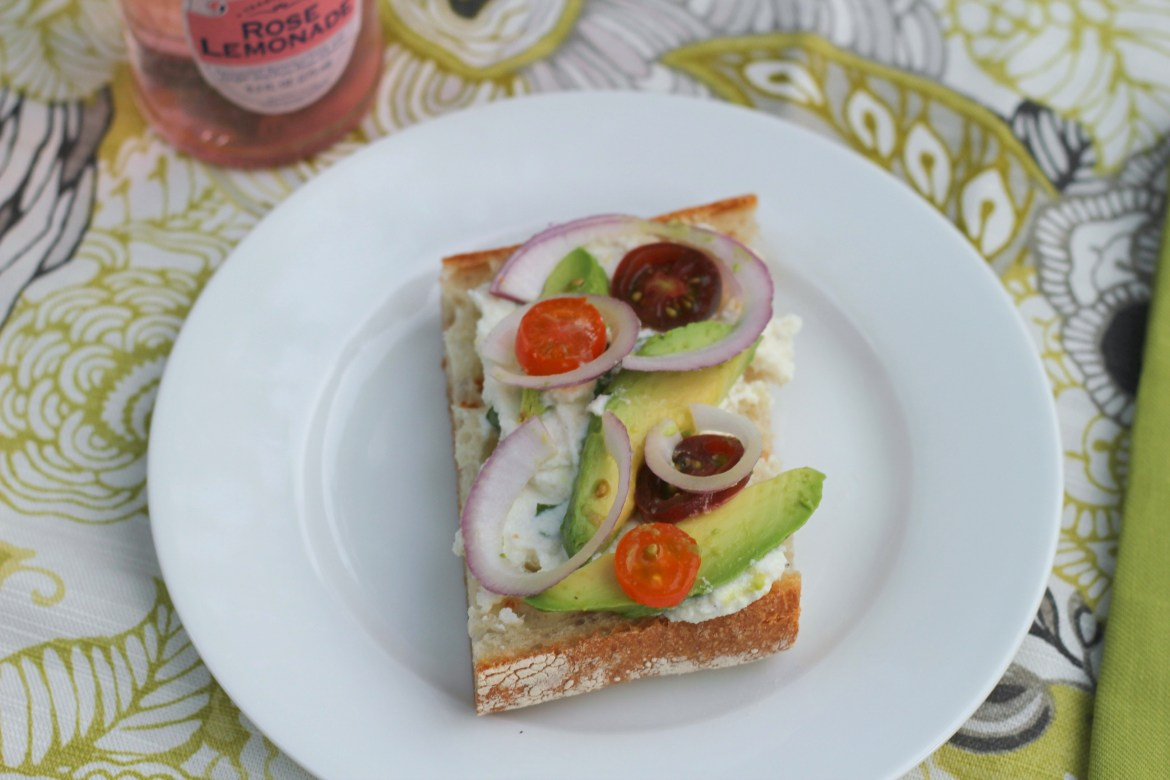 lemon basil ricotta avocado sandwich