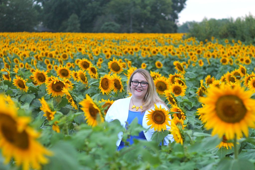 Molly in sunflower field