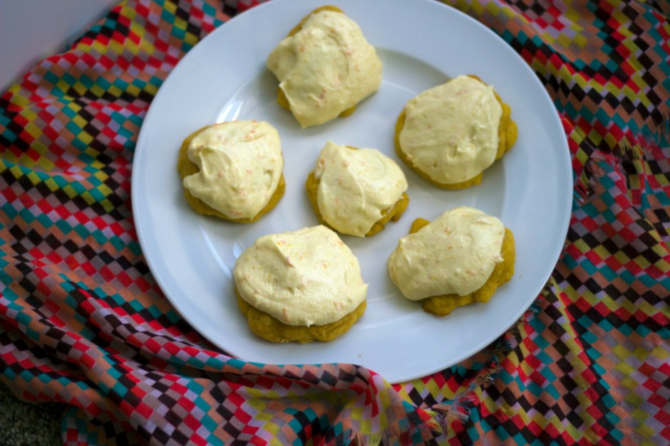 carrot cookies with orange frosting - librarian style