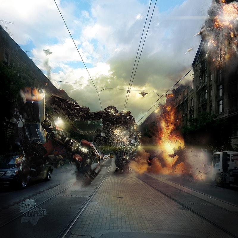 Transformers csata a Jászai Mari téren (2014)