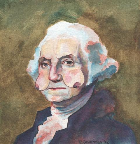 """""""Mivel kronológia alapján haladtam a képek festésénél, így George Washington volt az első csöcsportém alanya."""""""