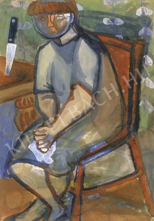ANNA MARGIT (1913 - 1991):  Kendőt fogó önarckép tapétás szobában, 99 x 69 cm  Vegyestechnika, papír forrás: www.kieselbach.hu