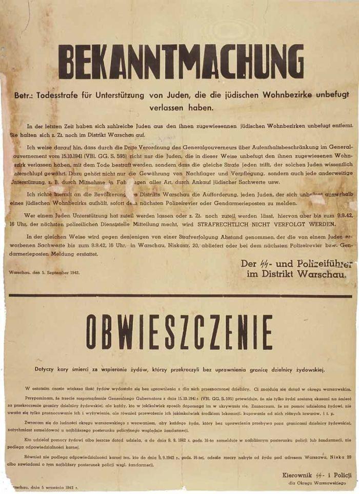 Náci plakát, amely halállal fenyeget minden lengyelt, aki zsidót bújtat