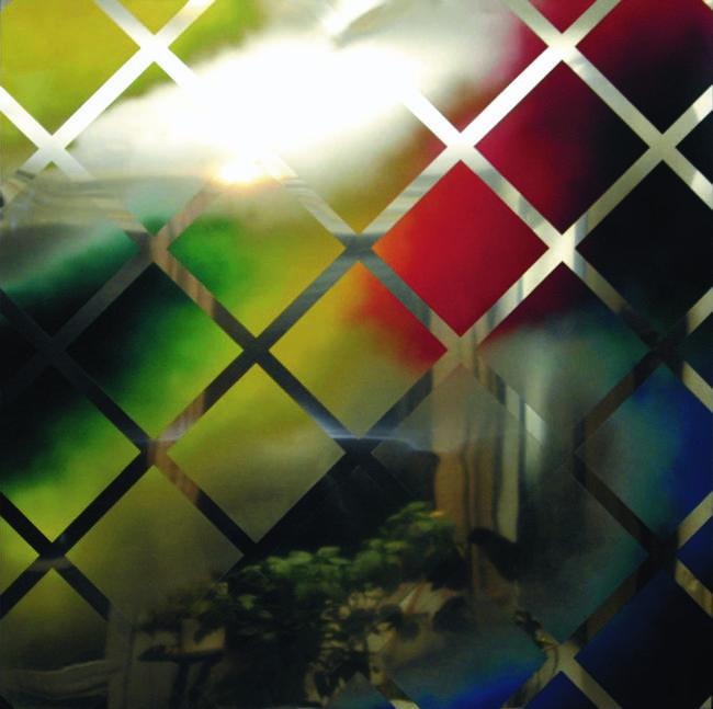 Szivárvány lány, 2006. (125x125 cm, olaj, krómacél lemez)