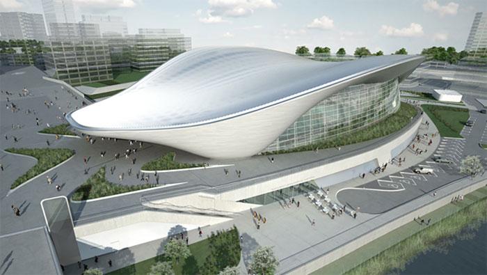 A 2012-es londoni olimpiára készült vízi-sportközpont tetőszerkeszete.