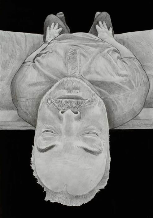 Fehér László: Önarckép behunyt szemmel. 2014. Ceruza, tus, papír, 105X75 cm