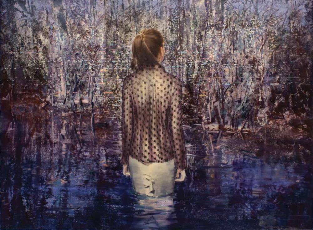 Szűcs Attila: Asszony a mocsárban, 2016, olaj, vászon, 140x190 cm