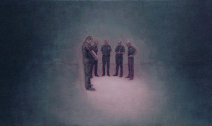 Policemen standing in half circle - Helyszínelők