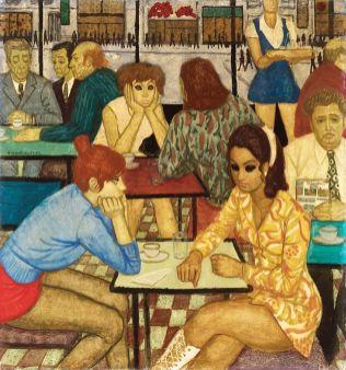 Czene Béla Pesti presszóban (Németh Lajos Herbert Read könyvét szorongatja) 1972