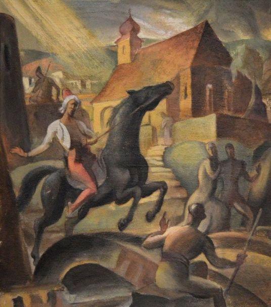 Pécsi török időkből (olaj, karton, 54,4x48cm) Magyar Nemzeti Galéria ltsz.: 77.1 T A kép a Nemzeti Szalon 1932. évi Tavaszi tárlatán szerepelt, a kiállítás katalógusában 46. szám alatt található. Feltehetően ekkor vásárolta meg a művet a galéria a tavaszi tárlaton bemutatott másik Gebauer-olajfestménnyel együtt, melynek címe A próféta.