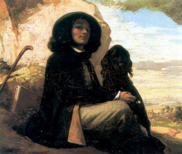 Önarckép fekete kutyával