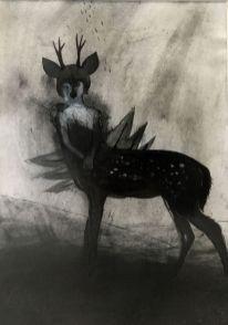 Magyarósi Éva, vegyes technika, papír, 30x20 cm (keretezve 47,5x38 cm), 250.000 HUF + áfa