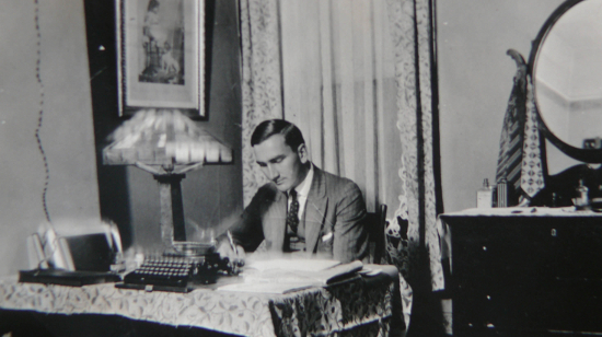 Arthur Wishart at his Desk