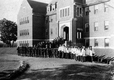 Shingwauk Hall ca. 1950 from the Rev. Canon Harry Morrow fonds, SRSC, Algoma University  Ref#:2010-015_001_005_001