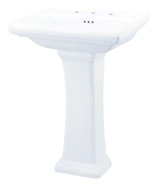 gerber white logan square 3 hole 8 in center pedestal sink