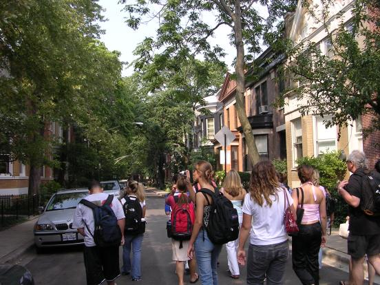 DePaul Students on Alta Vista Street during Chicago Quarter