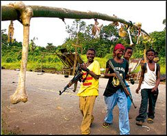 Liberian Cannibals Display Trophies