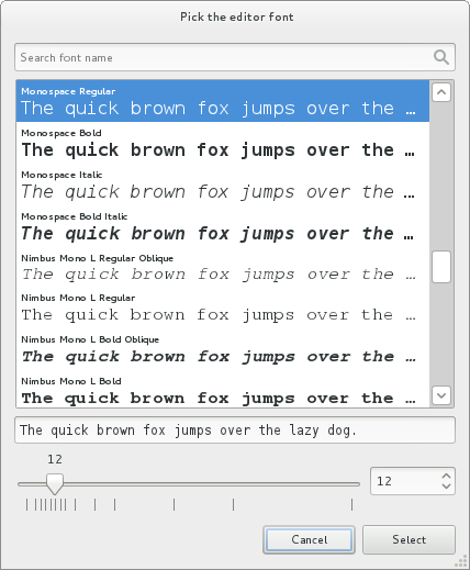 New font chooser (in Gedit)