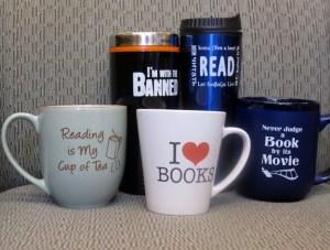 Book themed mugs