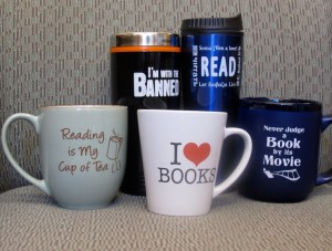 Book themed mugs