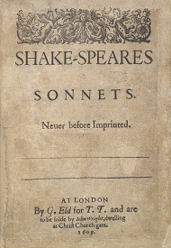 first page of a 1609 printing of Shakespeare's Sonnets