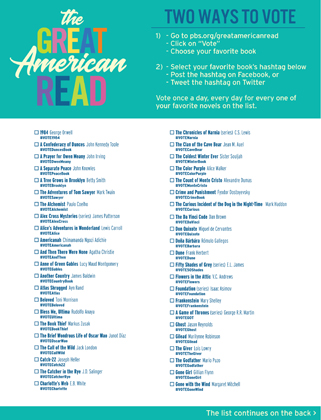 image relating to Great American Read Book List Printable titled The Terrific American Read through Marketing Substance for Your