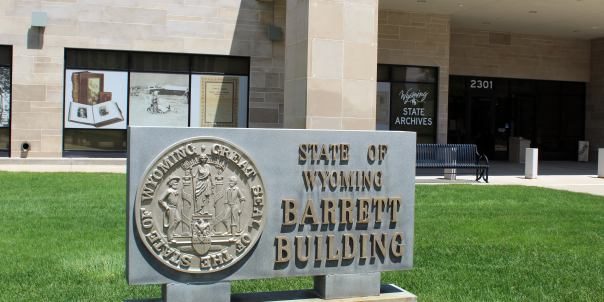 Front of the Barrett Building where the Wyoming State Archives is located.