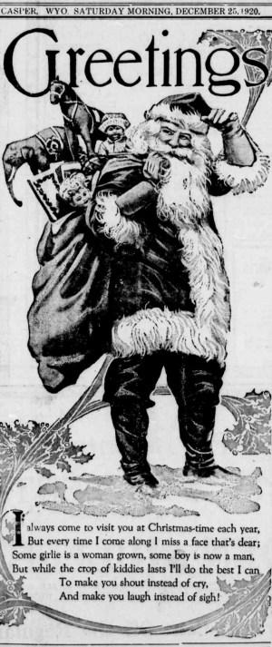 "Santa Claus standing with bag of toys on his shoulder under ""Greetings"" header. Christmas poem is below."