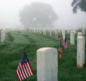 Nashville National Cemetery as the morning fog lifts