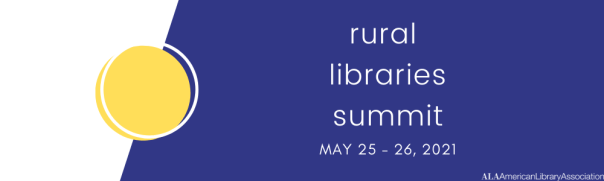 blue yellow and white logo with text: rural libraries summit, May 25-26
