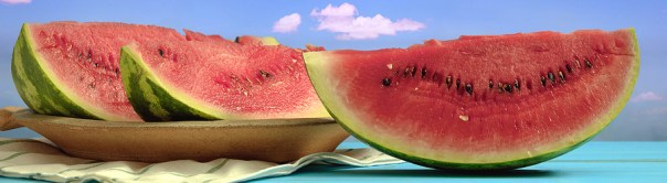 Three slices of watermelon against sky background with cloud