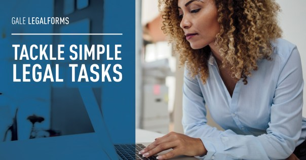Text reads: Tackle Simple Legal Tasks. Image of woman at laptop computer.