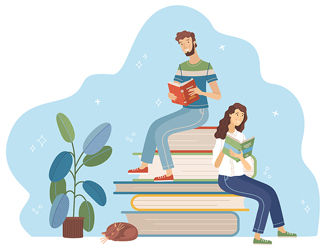Cartoon style image of young man and woman reading while sitting on stack of big books.