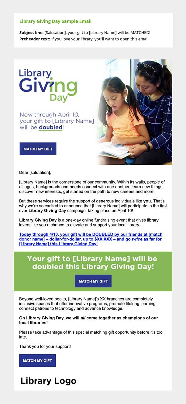 Library Giving Day sample email