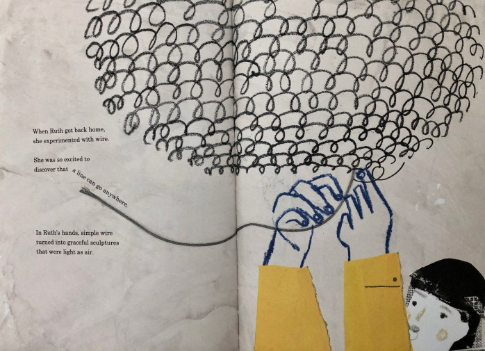 Illustration of a double-page spread from A Life Made by Hand: The Story of Ruth Asawa by Andrea D'Aquino. The illustration is of Ruth Asawa weaving a sculpture out of wire.