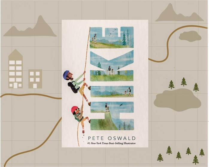 Promotional image for the book Hike by Pete Oswald. The book cover is featured in the foreground with a sepia map in the background. The map shows the outlines of city buildings on the left with mountains, lakes and trees on the right. A trail winds its way through the center of the map.