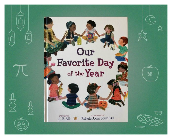 This is a promotional illustration for a lesson activity based on the book Our Favorite Day of the Year. The cover of the book is centered on top of a green chalkboard with images of holiday icons.