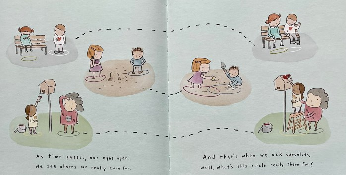 Double page spread from the book The Circles All Around Us. The illustrations show children and adults helping each other.