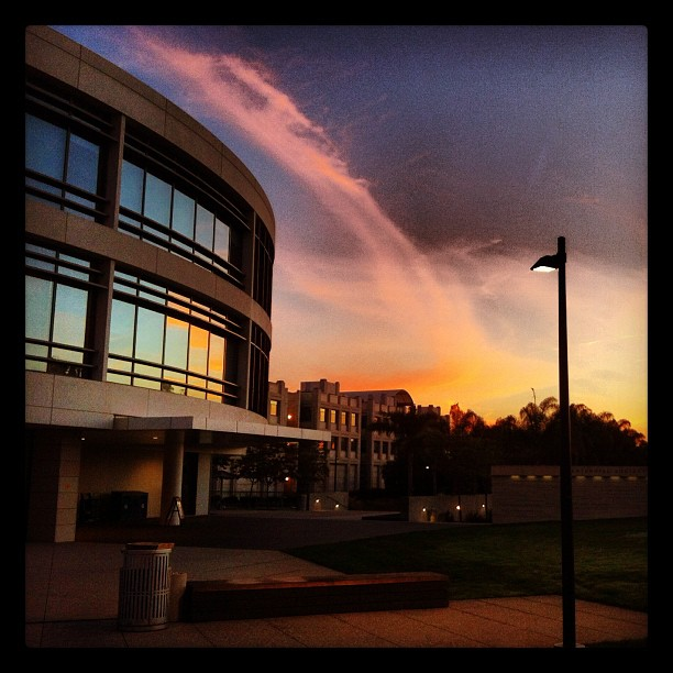 LMU Hannon Library exterior at sunset