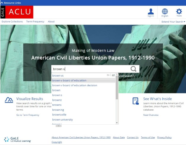 The American Civil Liberties Union Papers, 1912-1990 uses predictive text to help you with your search